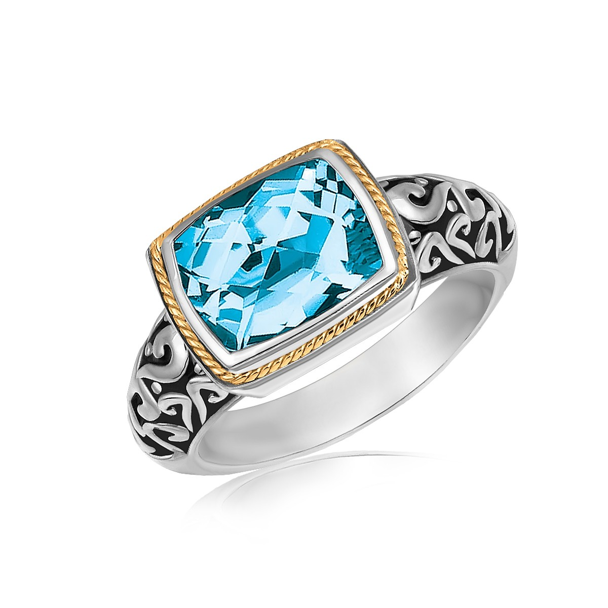 Risque Chalet 18K Yellow Gold and Sterling Silver Rectangular Blue Topaz Milgrained Ring at Sears.com