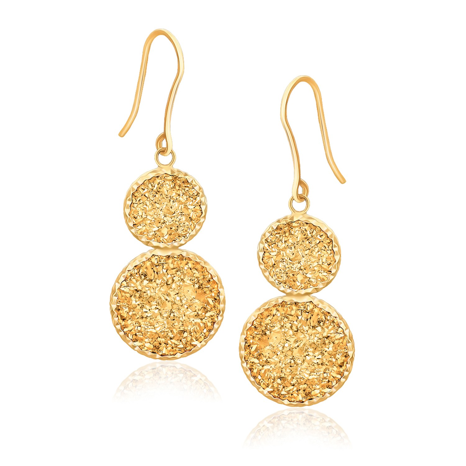 JJ FashionTrends 14K Yellow Gold Golden Drusy Double Drop Earring