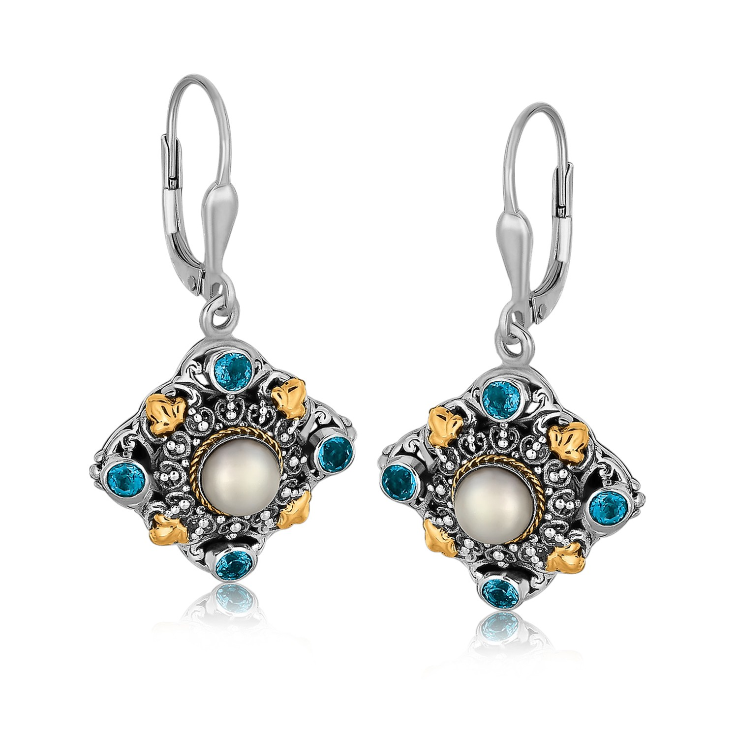 Myriam's Boutique 18K Yellow Gold and Sterling Silver Earrings with Pearl and Blue Topaz at Sears.com