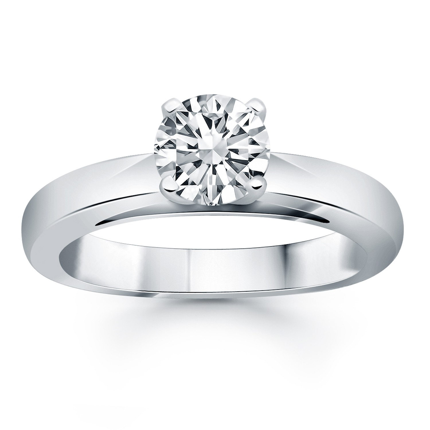 14k white gold classic wide band cathedral solitaire