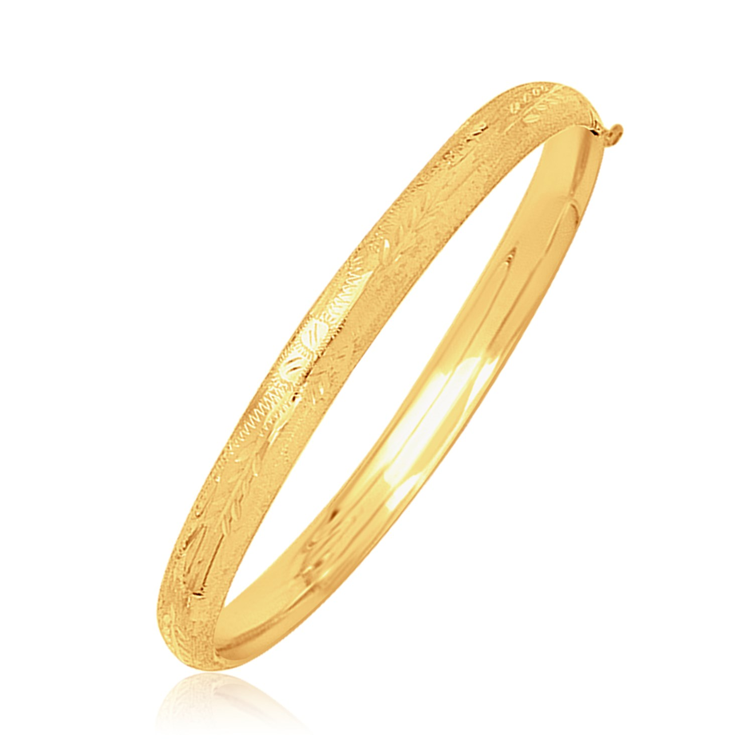 Important Jewelry 14K Yellow Gold Dome Motif Children's Bangle with Diamond Cuts at Sears.com