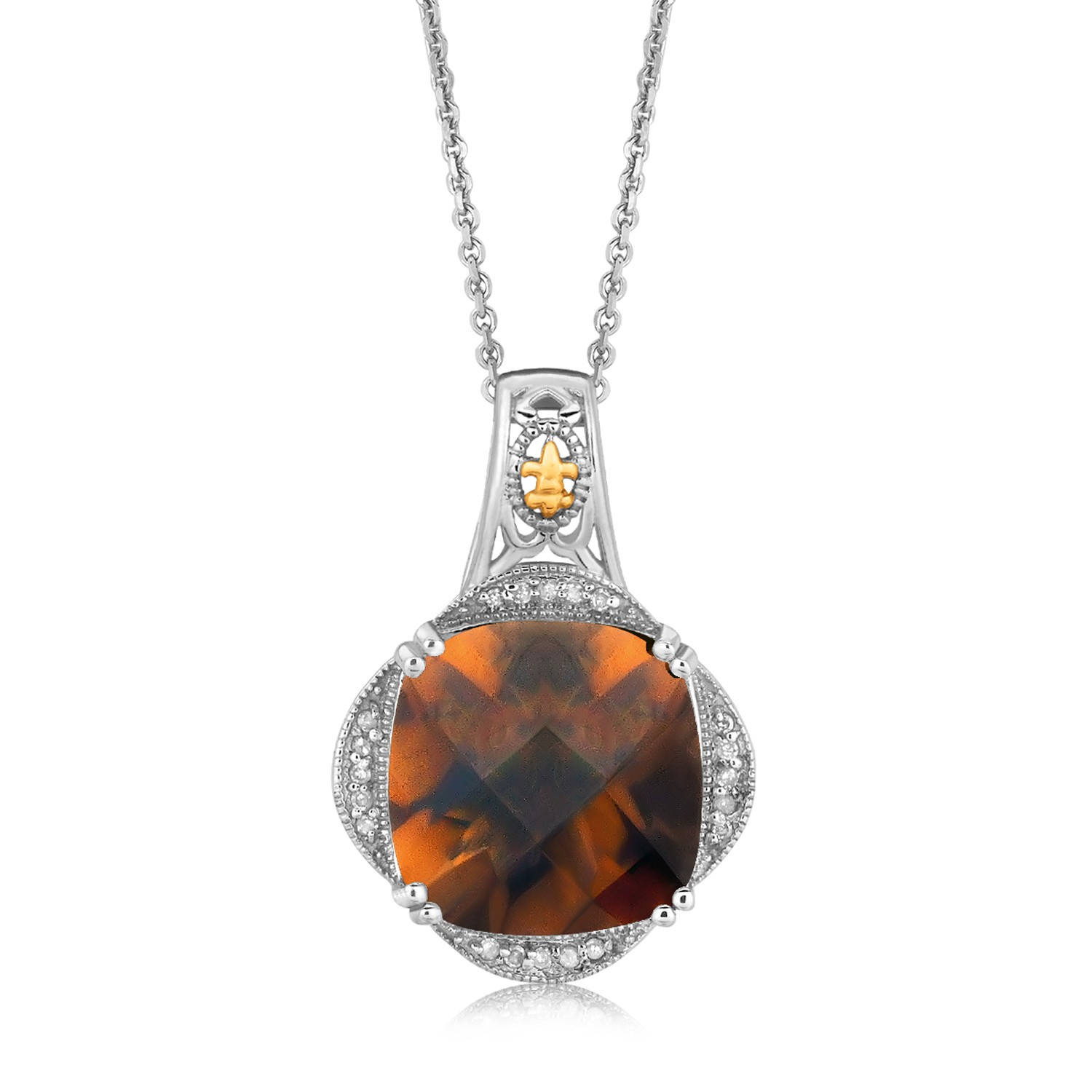 Myriam's Boutique 18K Yellow Gold and Sterling Silver Smokey Quartz Diamond Pendant (.10 ct. tw.) at Sears.com