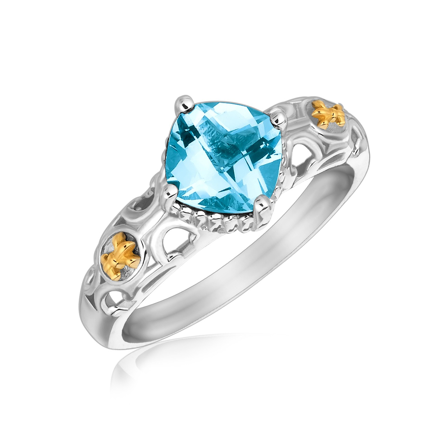 Myriam's Boutique 18K Yellow Gold and Sterling Silver Blue Topaz Ring with Fleur De Lis Accents