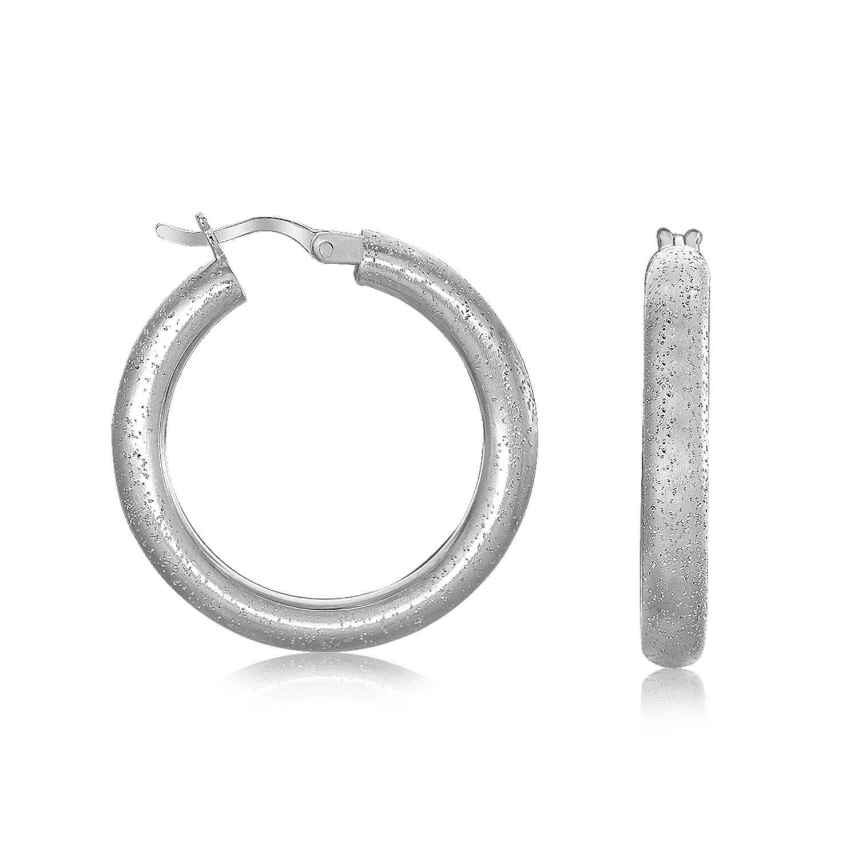 Jewelry Best Buy LLC Sterling Silver Rhodium Plated Stardust Textured Hoop Earrings at Sears.com
