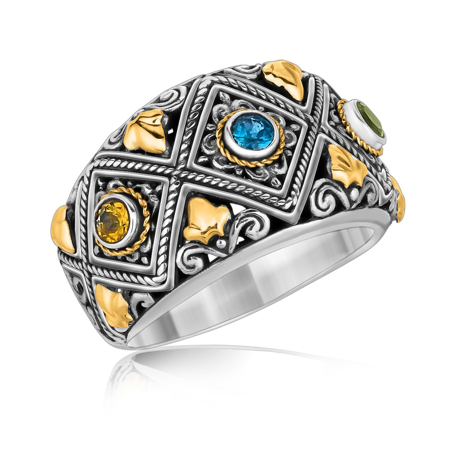 Myriam's Boutique 18K Yellow Gold and Sterling Silver Ornate Ring with Multi Gemstone Accents