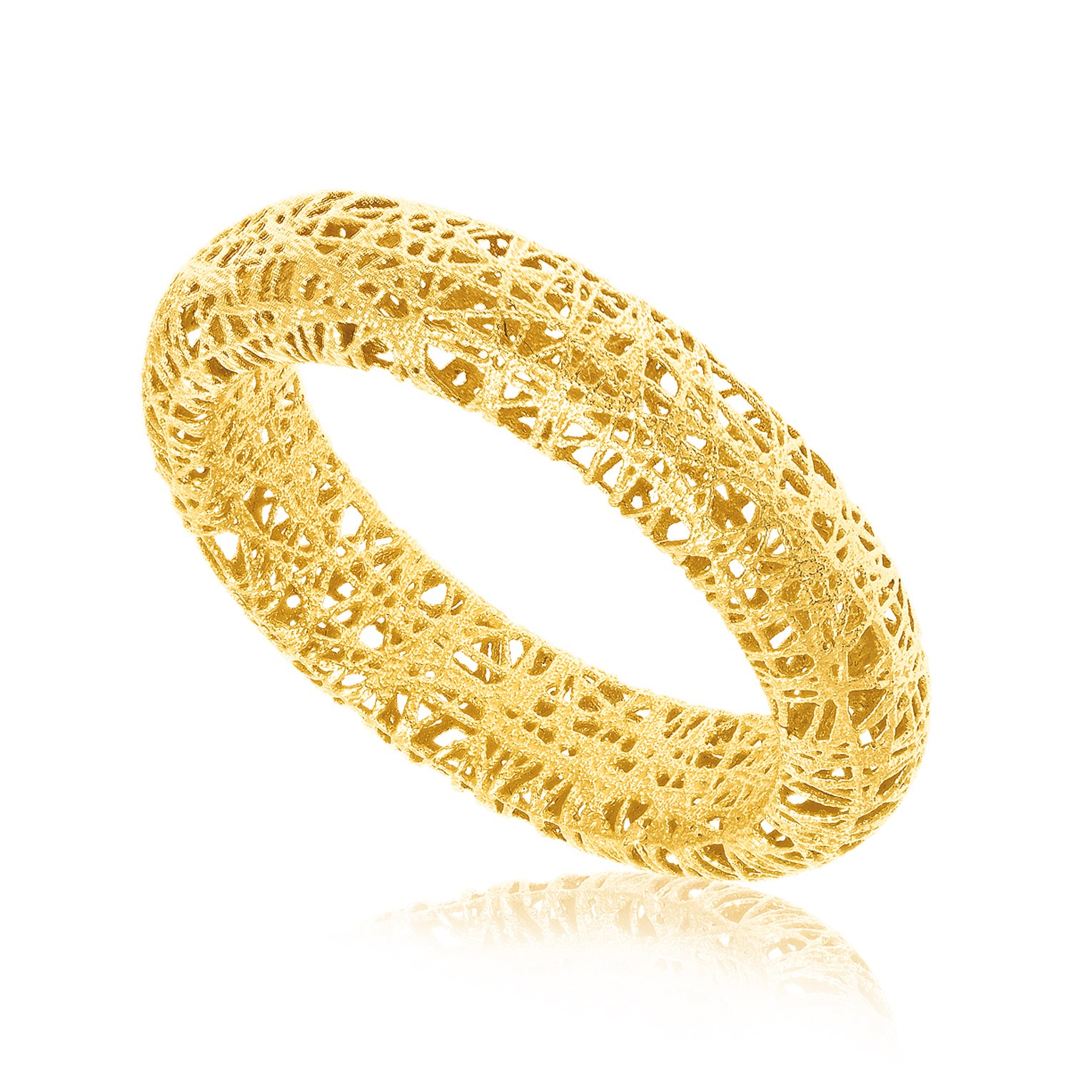 Image result for 14K YELLOW GOLD WIRE MESH TUBE STYLE RING