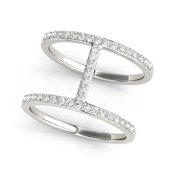 14K White Gold Dual Band Bridge Style Diamond Ring You Rock Gems