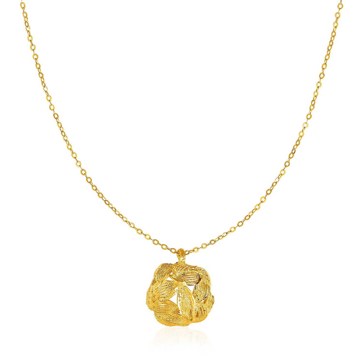 You rock gems showcase 14k gold necklace with round diamond cut leaf pattern pendant aloadofball Images