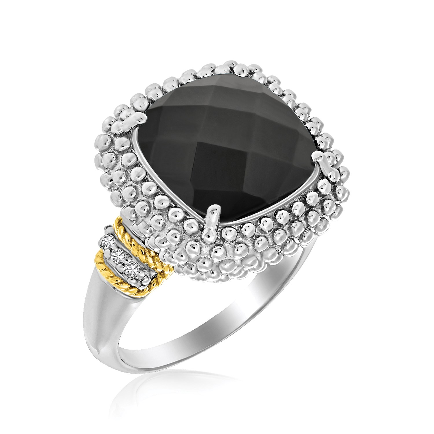 Risque Chalet 18K Yellow Gold & Sterling Silver Black Onyx and Diamond Popcorn Cushion Ring at Sears.com