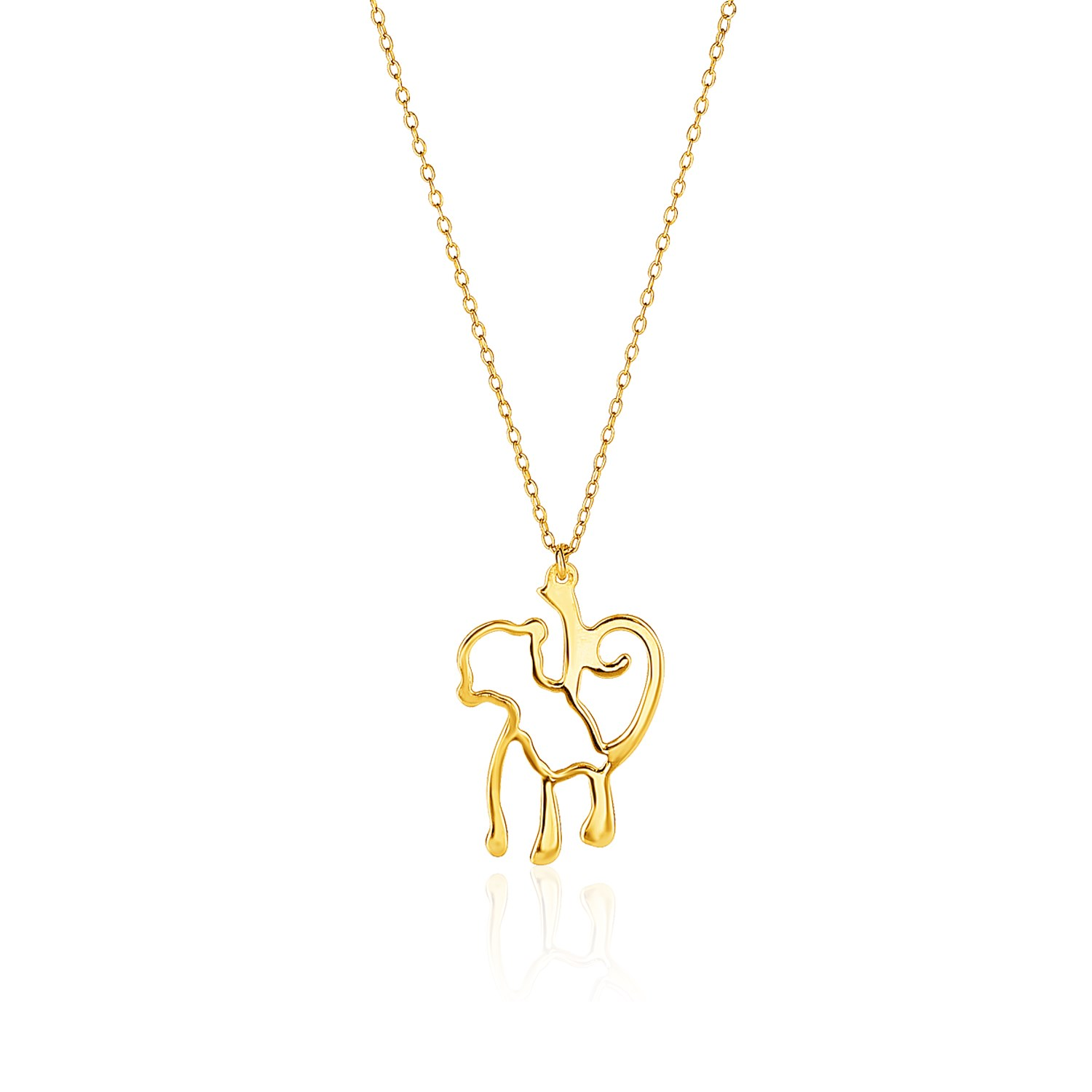 You rock gems showcase 14k yellow gold oval link necklace with monkey pendant aloadofball Gallery